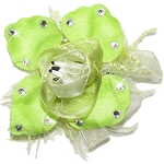Swarovski Rose Key Lime Flower Dog Hair Bow