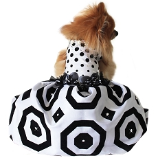 Polka Dot Black White Geometric Glamour Dog Dress