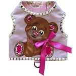 Luxury Ultra Suede Crystal Bear Dog Harness Vest