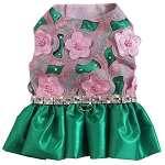Forever Crush Pink and Green Flower Dog Dress