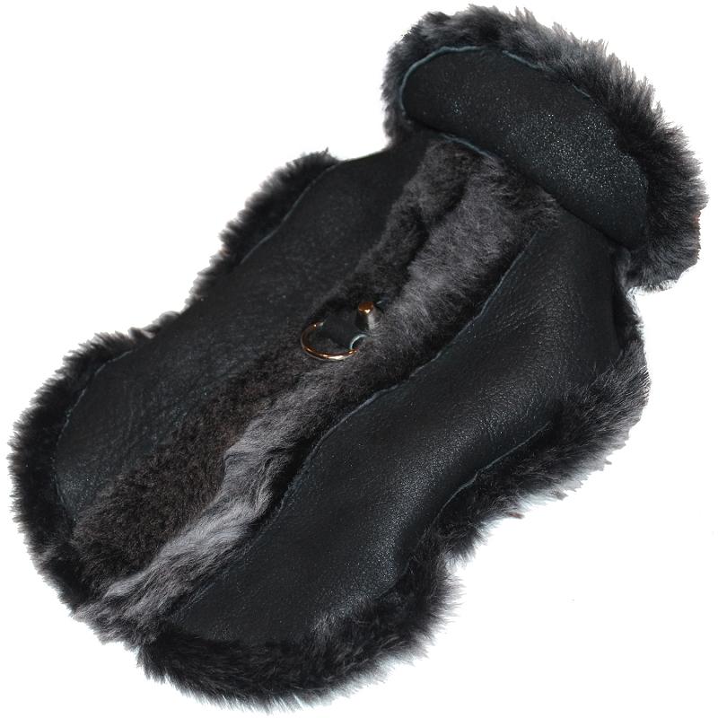 Ugg Style Shearling Dog Coat, Genuine Black Leather Lambskin ...