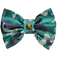 Army Camo Studded Bow Tie Dog Collar