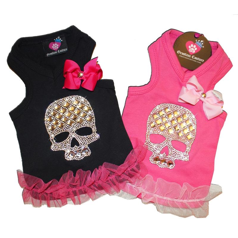 58d8e40b973857 Crystal Skull Pink and Black Dog Tank Top Shirt