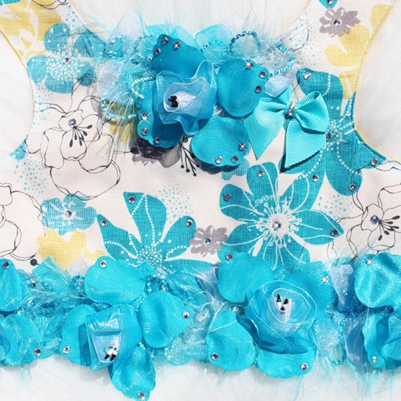 Ocean Blue Tropical Flower Dog Harness