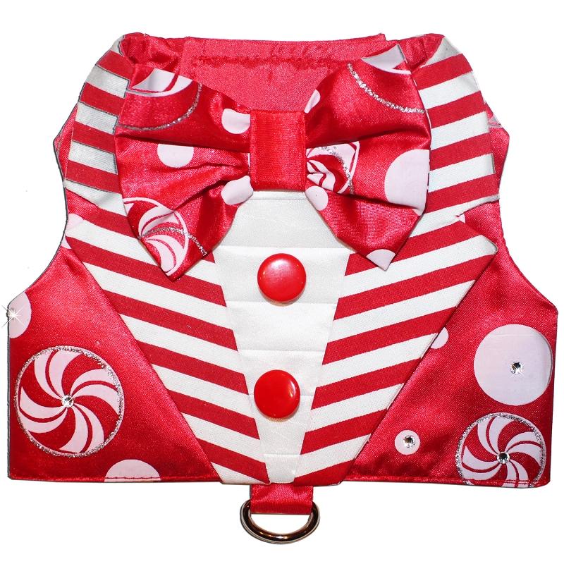 home u003e shop all u003e red peppermint candy cane stripes christmas tuxedo dog harness vest