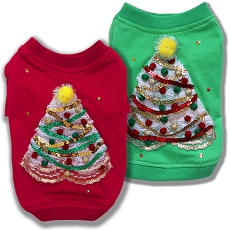 Lace Christmas Tree Red And Green Couture Dog T-Shirt