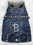 Custom Personalized Studded Denim Sleeveless Dog Jacket