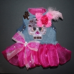 Rocker Glam Upcycled Denim Skull Studded Ruffle Dog Harness Dress
