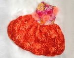 Countryside Glamour Flowers Orange Pink Custom Couture Designer Dog Dress