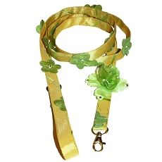 Key Lime and Yellow Lily Gardenia Floral Swarovski Green Rose Dog Leash