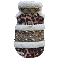 Studded Shearling Leopard Brown Monogram Dog Coat Jacket