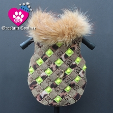 Neon Green Studded Woven Designer Brown Monogram Dog Coat Jacket
