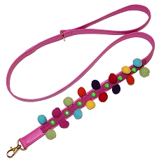 IBIZA Pom Pom Pink Dog Leash