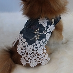 Denim and Lace Swarovski Studded Luxury Dog Harness