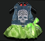 Lime Green Rhinestone Crystal Bling Skull Studded Denim Harness Dress