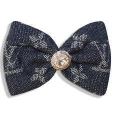 Denim Monogram Swarovski Crystal Designer Hair Bow