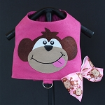 Mommy's Little Monkey Fuscia Pink Ultrasuede Dog Harness Vest