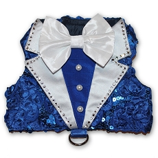 Royal Affair Blue Tuxedo Dog Harness Vest  (SOLD OUT)