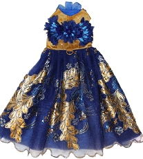 LAST ONE! Royal Blue and Gold Leaf Couture Glamour Gown Sz SMALL