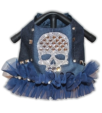 Studded Blue Denim Rhinestone Crystal Bling Skull Dog Harness