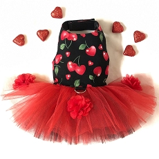 Cherry Hearts Dog Tutu Dress XXS - Last One!