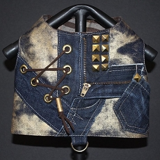 Distressed Gold Graffiti Denim Laceup Dog Harness