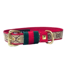 Luxury Red Leather Dog Collar with Fashion Stripe