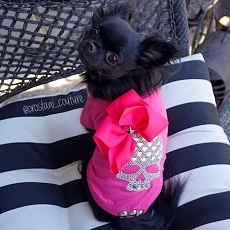 Hot Pink Crystal Skull Glam Couture Dog T-shirt