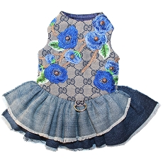 Blue Monogram Blooms Flower Denim Dog Dress