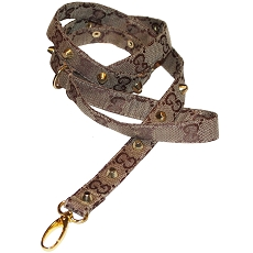 Designer GG Brown Monogram Studded Dog Leash