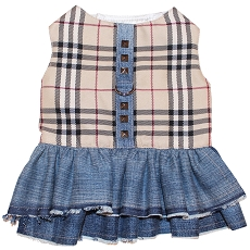Classy Girl Plaid Denim Dog Harness Dress