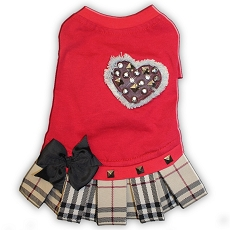 Fashion Plaid Red Tshirt Dog Dress