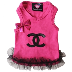 Pink and Black Designer Inspired Fashion Dog Shirt