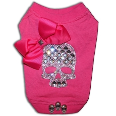 Hot Pink Crystal Skull Couture Dog T-shirt