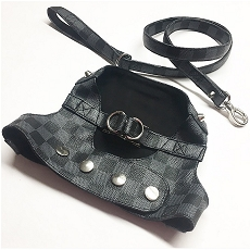 Designer Monogram Black and Grey Damier Dog Fashion Step In Harness