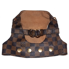 Designer Monogram Brown Damier Dog Fashion Harness