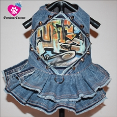 Graffiti Couture Rebel Crew Upcycled Denim Dog Dress