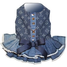 Designer Inspired Denim Monogram Dog Harness Dress