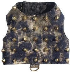 Distressed Gold Studded Denim Dog Harness 1-Medium
