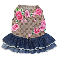 Designer Inspired GG Blooms Brown Monogram Flower Denim Dog Dress
