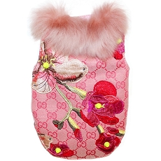 Designer Inspired GG Blooms Pink Monogram Dog Jacket