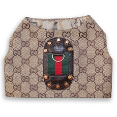 GG Brown Monogram Designer Classic Dog Harness Vest