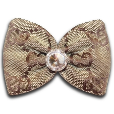 Designer Brown Monogram Swarovski Crystal Dog Hair Bow