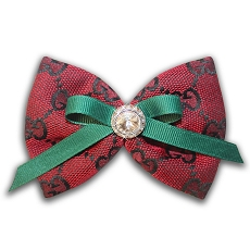 Red Monogram Swarovski Crystal Dog Hair Bow
