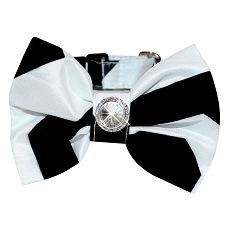 Geometric Black and White Formal Dog Bow Tie Collar
