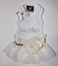 Little Princess Rockstar White Creme V-Neck Tank Dog Dress