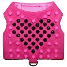 Hot Pink Love Stud Faux Leather Dog Harness