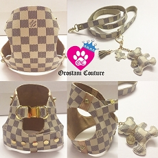 Designer Style Damier Azur Dog Fashion Step In Harness