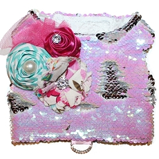 Candy Pink and White Mermaid Sequin Flirty Dog Harness Vest