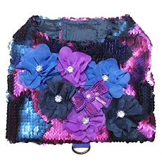 Mermaid Sequin Flirty Purple and Blue Flower Dog Harness Vest